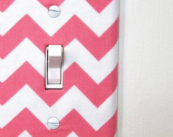 Light Switch Plate Cover, wall decor - pink chevron pattern