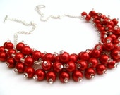 Red Necklace, Pearl Beaded Necklace, Red Bridesmaid Jewelry, Cluster Necklace, Bridesmaid Gift, Bridesmaid Necklace, Christmas Red Jewelry