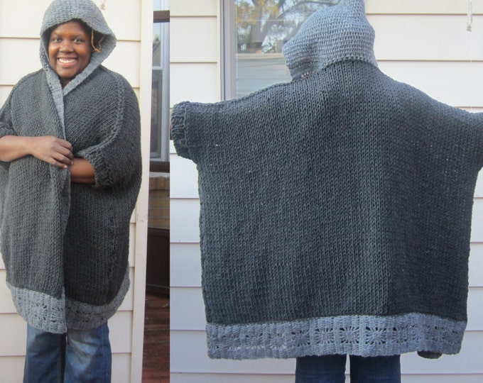OVERSIZE cardigan, sweater coat, Plus size poncho, plus size sweater, Hooded cardigan, hooded poncho, xl to xxxxl