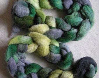 110g (3.8 oz) Southdown wool top, Jealousy, green, grey