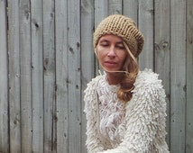 beige hat, beige beanie, Caramel hat,  Brown Chunky hand knit Tam Hat, chunky beanie, READY TO SHIP