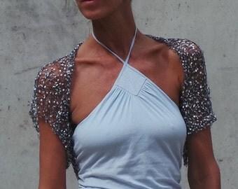 silver Shrug / Silver loose knit evening  short sleeved shrug / knitwear