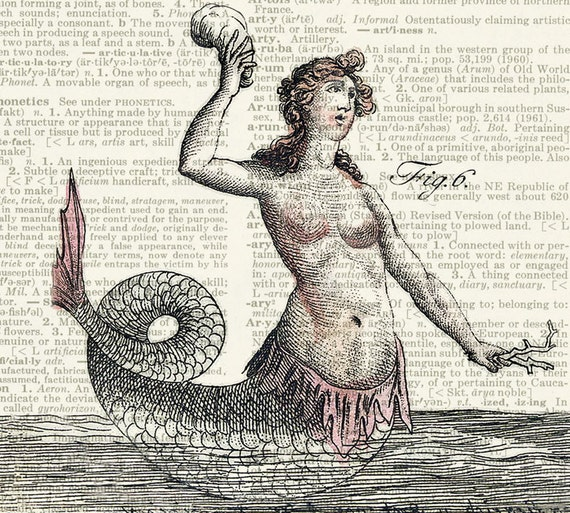 mermaid, 18oo's mythological creature IV print
