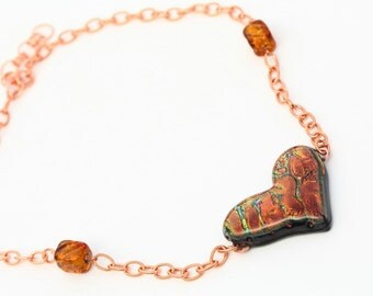 Heart Shaped Iridescent Dichroic Fused Glass Necklace Mixed Media Copper Chain and Murano Glass Beads