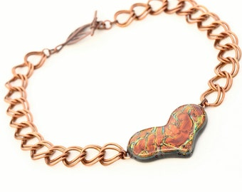 Heart Shaped Iridescent Dichroic Fused Glass Necklace Mixed Media Copper Chain