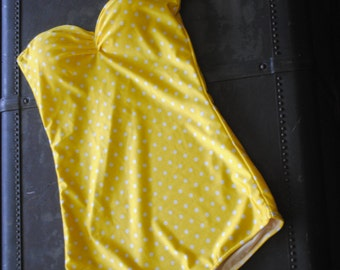 Yellow Polka dot Retro Strapless one piece Pin Up Maillot Swimsuit sizes xs-xl Made to Order