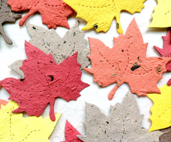 10+ Plantable Maple Leaves Seed Paper Maple Leaves - Fall Wedding Favors - DIY Leaf Place Cards - Woodland Wedding Red Orange Golden Yellow
