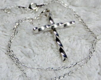 Twisted Sterling Cross Necklace
