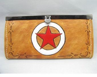 Leather Wallet/Clutch Purse - Lone Star