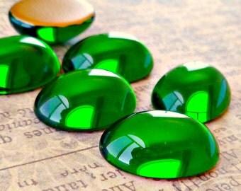 Four Tourmaline Green 18x13mm Oval Glass Cabochons (20-2B-4)