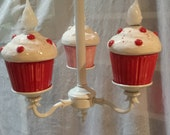 Cupcake Chandelier Home Decor Red Cupcake Kitchen Light Nursery Decor Cupcake Home decor