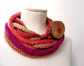 Knit Infinity Scarf Necklace, Loop Scarlette Neckwarmer - Red, Purple, Orange, Mustard Yellow ombre yarn with big wood button - Handmade - ixela