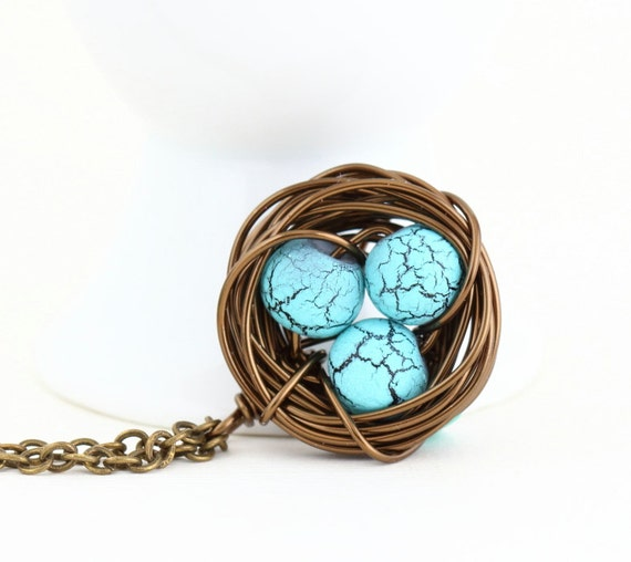 Gift For Mom, Wire Wrapped Bird Nest Necklace, Turquoise Beads, Wonderful Gift for New Mom, Grandmother, Gift For Woman, Valentines Gift