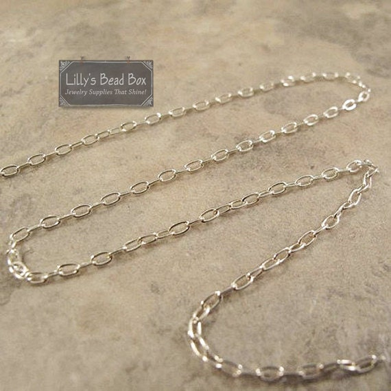 Silver Filled Chain, Petite Oval Cable Chain, By the Foot, 1.9mm x 1.5mm Links, Layering Necklaces, Jewelry Supplies (FSsf13440f)