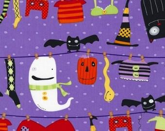 Illustration Ink, Stitchy Witchy Haunts, Purple Witchy clothesline Fabric, 1/2 yard