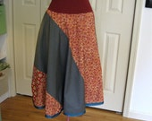 All Sizes - Long ALine Skirt - Random Acts of Patchwork - Red and Green Grey