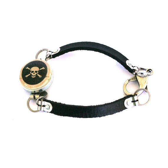 SKULL Jewelry - Skull Bracelet , Black Leather, Skull and Crossbones, Goth Gift, Gothic, Any Size, Unisex, Cork, Recycled, Steel - Uncorked