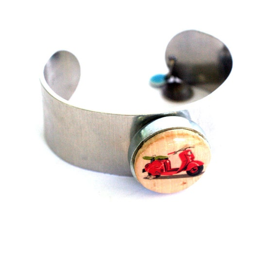 Scooter Metal Cuff - Scooter Jewelry - Scooter Bracelet - Wine Cork Jewelry - Cuff Bracelet - Recycled Jewelry - On The Go- Uncorked