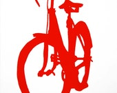 Bicycle Art - Red Town Bike Print