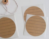 kraft large circle stickers - lined