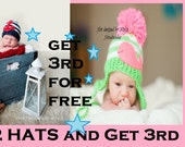 Buy 2 KNITTED Hats (sales items and Jersey slouchys not included) and get 3rd hat for FREE- Made in the USA, Bogo sale, boys and girl Hats