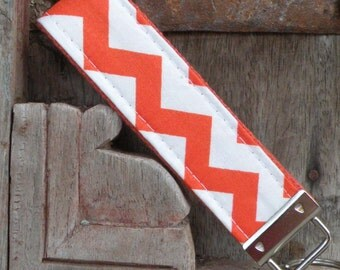 READY TO SHIP-Beautiful Key Fob/Keychain/Wristlet-Orange Chevron on Orange