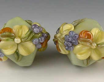 REMADE 4 YOU-Sage Green & Butter Yellow Floral Bicones - Handmade Lampwork Glass Beads