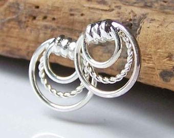 REDUCED Silver Hoops, Hoop Earrings, Vintage Hoops, Triple Hoops, Vintage Earrings, Etsy, Etsy Jewelry