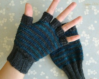 Boreal Fingerless Gloves - Teal and Charcoal Grey Stripes, Wool Blend, size 7