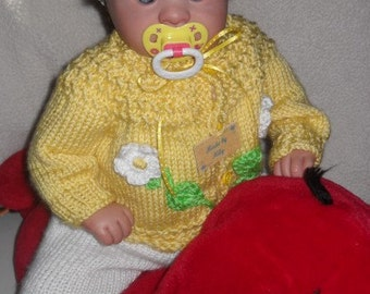 "You are my ""Little Sunshine"" Hand knitted set for baby girls different sizes soft yellow and white color"
