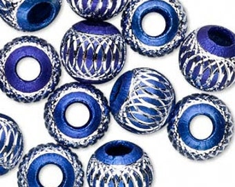 5 Beads, aluminum, blue, 12mm diamond-cut round with 4.5mm hole. BIG hole bead for european style charm chains