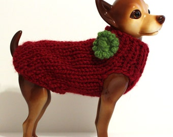 Cranberry Red Christmas Dog Sweater w/ Flower