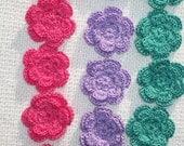 15 handmade cotton thread crochet applique roses/flowers --   1098