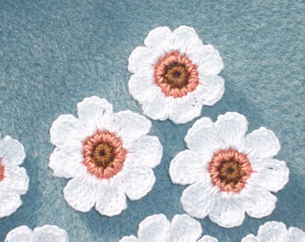 8 thread crochet applique flowers in brown coral and white --  796