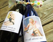 Pin Up girls wine/booze labels or party favor box/bag stickers. Set of 6 Assorted Sexy Pinup Labels. PU1 Bridal Shower/Party
