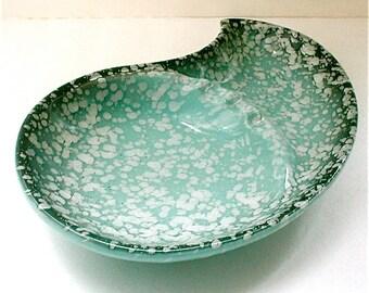 Paisley Atomic Era Ashtray Mid Century Iconic Dish Speckled Glaze Turquoise and Black Vintage 50s Dish