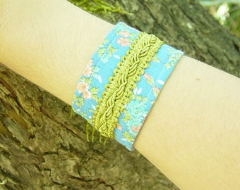 Eco friendly vintage reclaimed fabric and trim cuff/ bracelet/ arm band, blue floral with olive green detail