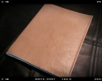 Large Leather Book Journal Cover Tan Color   Plus Custom Stamping Free