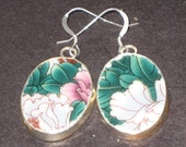 Lush Green and White Floral Porcelain upcycled pottery shard earrings on Sterling Silver Earwires
