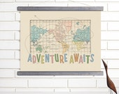 Vintage Map Wall Art, Adventure Awaits, Wood Bound Canvas