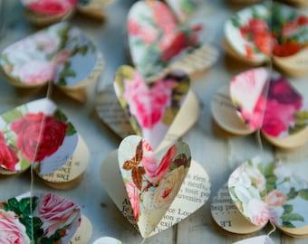 Paper garland, rustic wedding, summer wedding decor, summer wedding, RED ROSE, wedding garland, red garland, red wedding