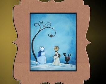 Whimsical Creeper Snowman Art Print - 8x10 - The Big Chill - Hedgehog - Owl - Black Cat