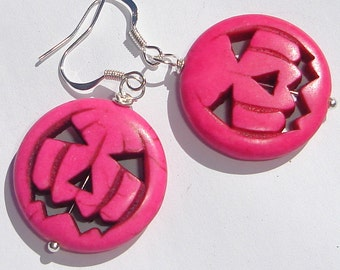 hot pink pumpkin jack-o-lanterns in magnesite stone pierced dangle hand made wire wrapped earrings