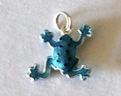 Frog Charm, Sterling Enameled Turquoise for Necklace or Bracelet