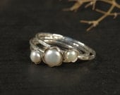 Pearl engagement rings set of 3, Stacking rings sterling silver, Skinny rings with fresh water pearls