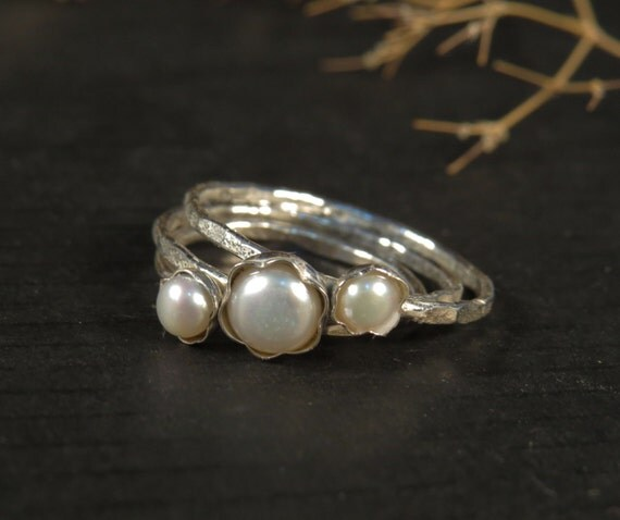 Pearl engagement ring set of 3 Stacking rings by DvoraSchleffer
