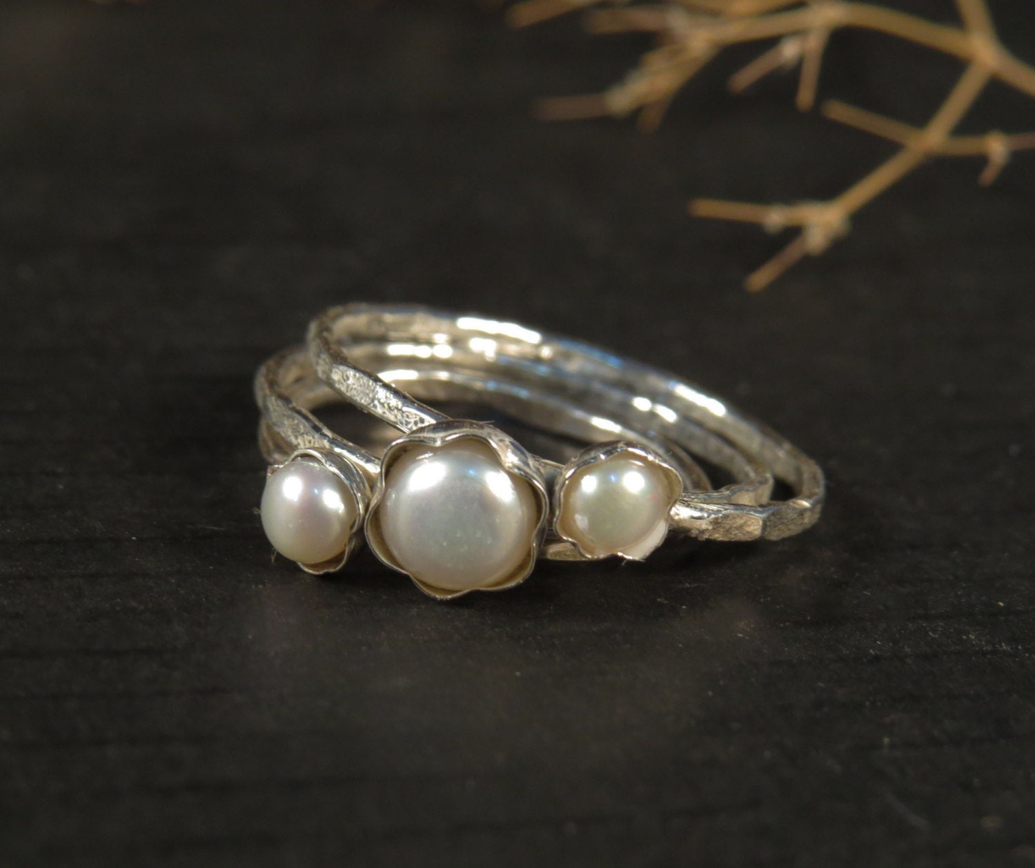 Pearl Wedding Ring: Pearl Engagement Rings Set Of 3 Stacking Rings By