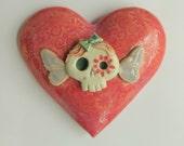 ON SALE Til Death do us part Los Muertos heart ceramic  wall hanging