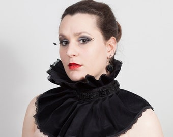 Velvet & Lace Neck Ruff, Gothic, many colors available
