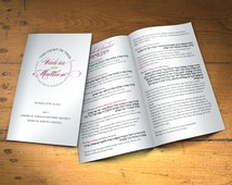 Eight Page Jewish Wedding Program - Customized for Your Ceremony with Color Cover and Black and White Text